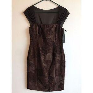 Worth New York Chiffon Shoulder Sheath Dress Sz 4